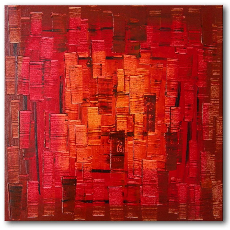 Quadro dipinto a mano red light 142 for Quadri astratti rossi