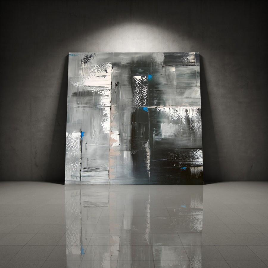 Quadro dipinto a mano riflesso 152 for Dipinti moderni bianco e nero