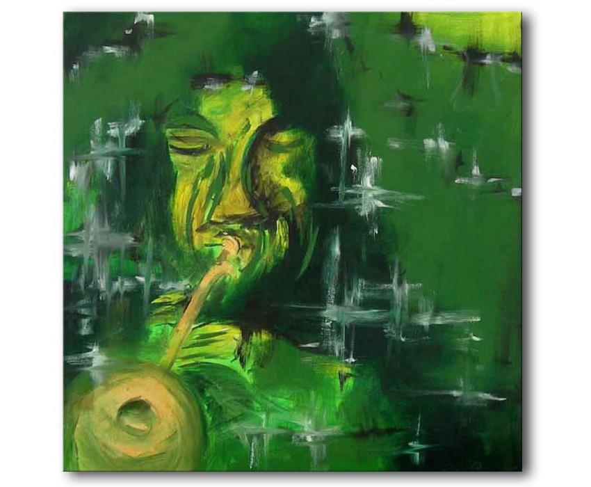 Quadro dipinto a mano: trombettista 226