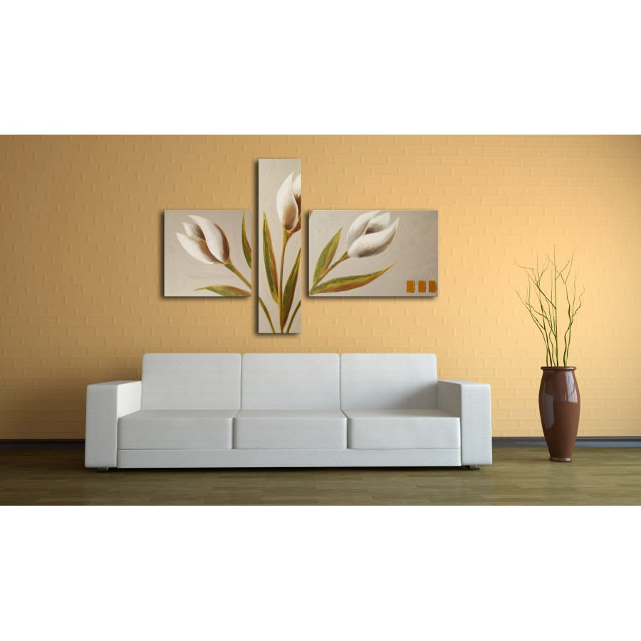 Quadro dipinto a mano tulipani 687 for Dipinti figurativi moderni