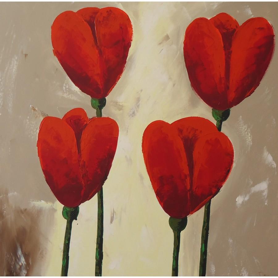 Quadro dipinto a mano tulipani 548 for Dipinti figurativi moderni